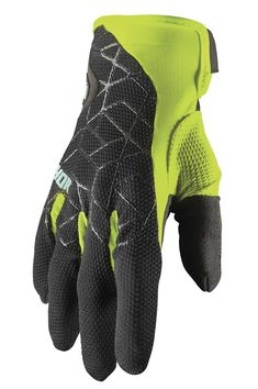 Gants cross Thor 2021 Draft - Noir Jaune Acid