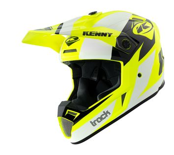 Casque cross Kenny 2021 Track - Blanc Jaune Fluo