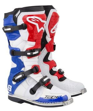 Bottes ALPINESTARS TECH 8 RS - Blanches, rouges, bleues