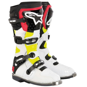 Bottes ALPINESTARS TECH 8 RS - Blanches, rouges, jaune